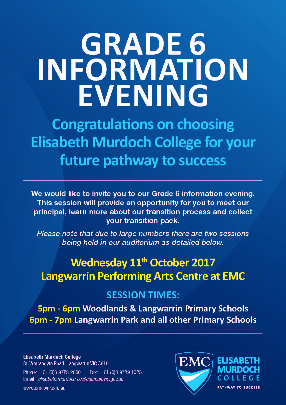 EMC Grade 6 Info Night Flyer A5 PROOF 2